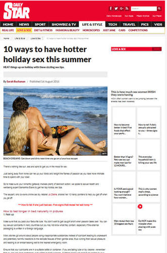 10 ways to have Better Holiday Sex this Summer -Daily Star
