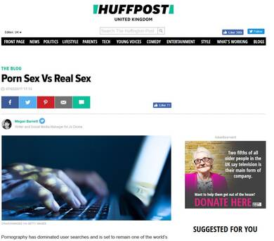 Porn Sex V Real Sex - Huff Post Lifestyle
