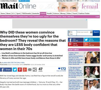 Women in their 40's and 50's have less body confidence in the bedroom than women in their 60's and 70's - Daily Mail