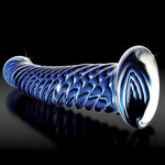 Load image into Gallery viewer, Icicles No 29 Textured Swirl Blue Glass Dildo