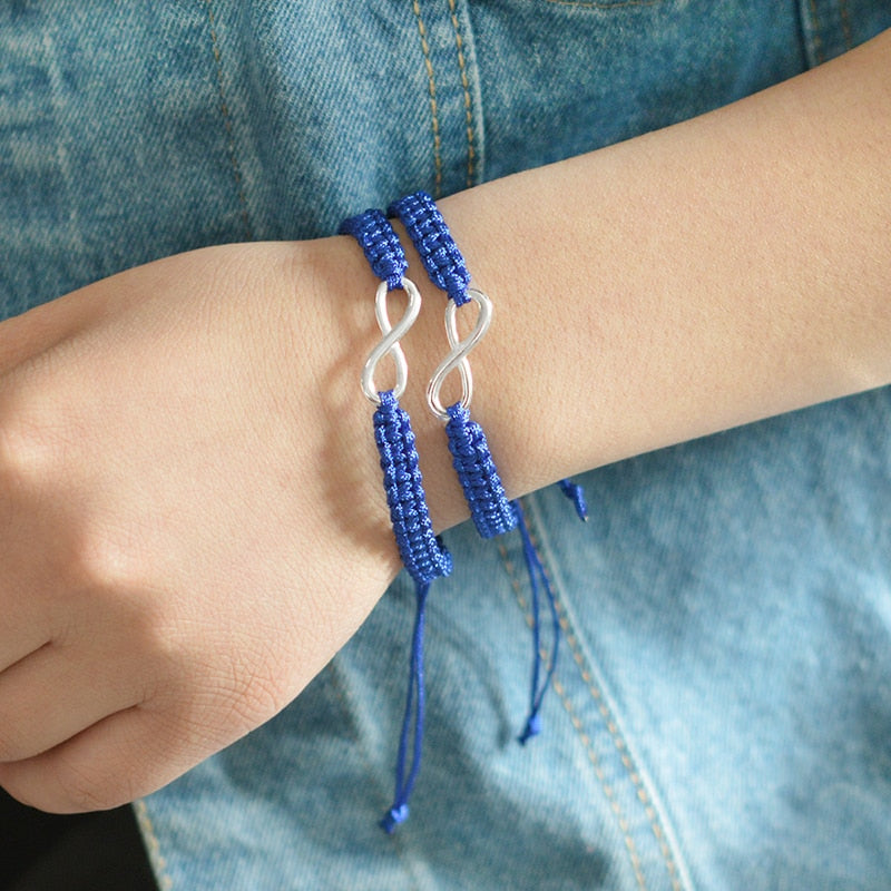 BRACELET COUPLE CORDON BLEU MARINE