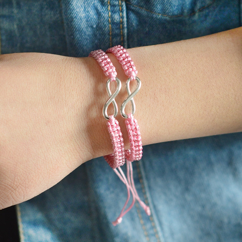 BRACELET COUPLE CORDON ROSE