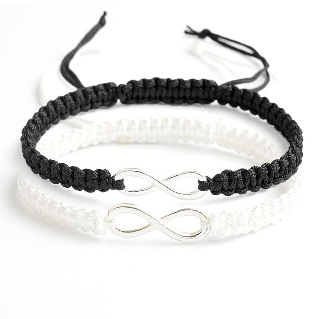 BRACELET COUPLE CORDON BLANC & NOIR