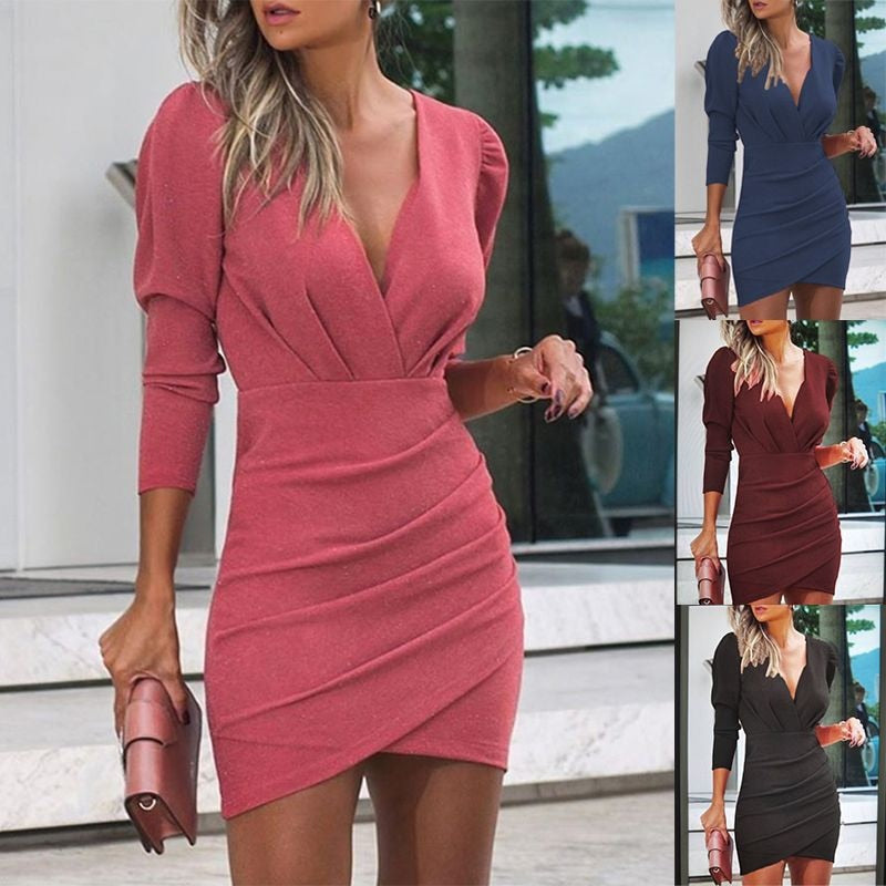 UNUSUAL DEEP V NECK DRESS