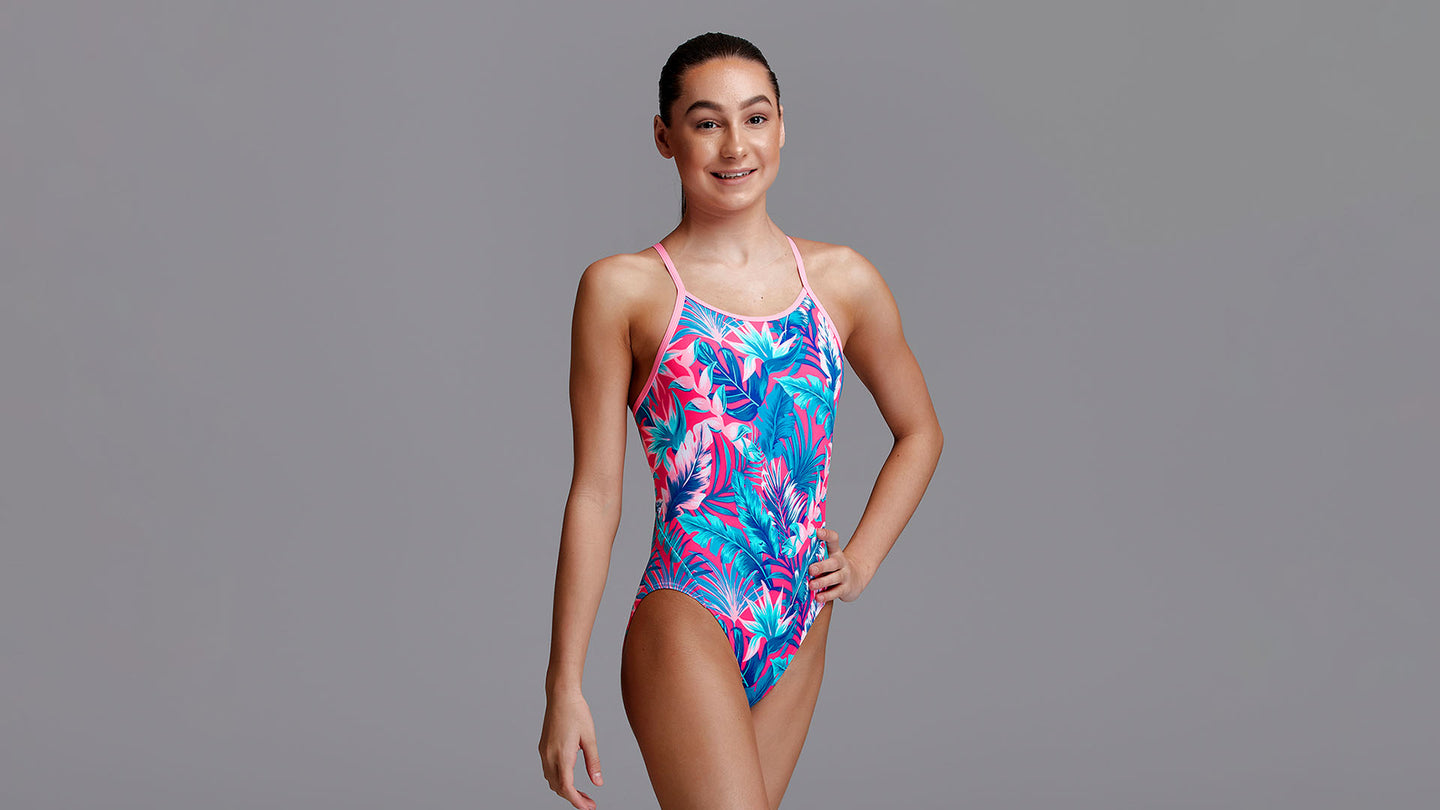 Girls Eco Diamond Back One Piece TropFest