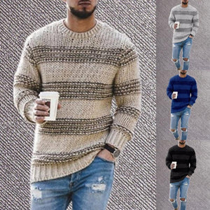 Men's autumn and winter fashion round neck knitted striped casual sweater