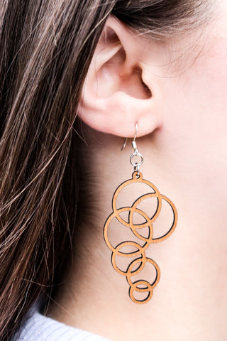 Earring - wood Bubble design
