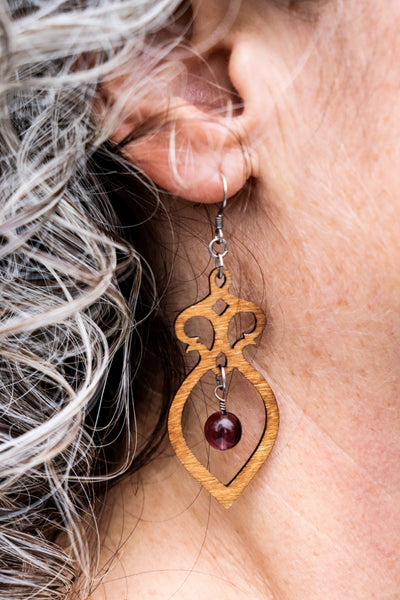 Earring - wood Amphora with Bead