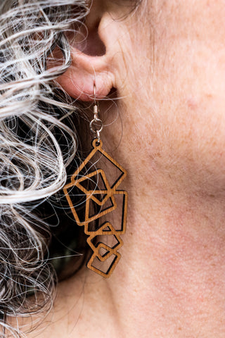 Earring - wood Squares design