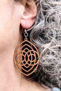 Earring - wood large oval/owl design