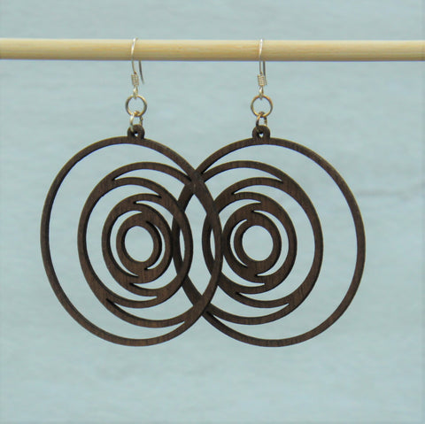 Earring - wood Circles design