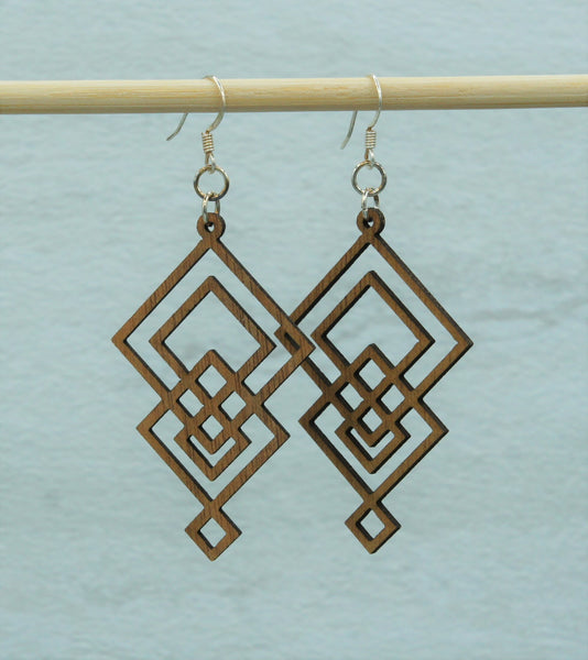 Earring - wood Diamond Tower design