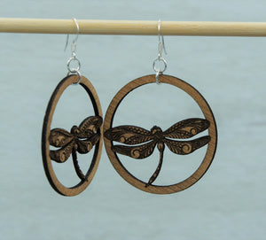 Earring - wood dragon fly circle