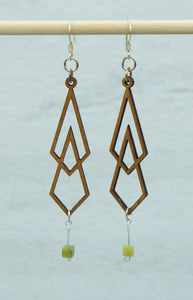 Earring - wood elongated with bead