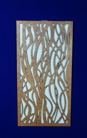Wood Panel Wall Art - Flowing design with rice paper
