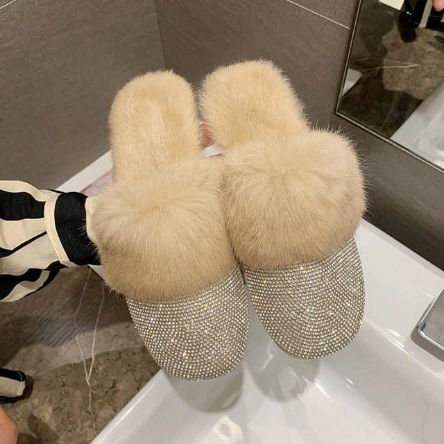 Round Toe Crystal Rhinestone Fur Slip On Slippers