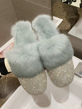 Load image into Gallery viewer, Round Toe Crystal Rhinestone Fur Slip On Slippers