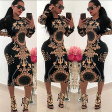 Load image into Gallery viewer, Women Casual O-neck Print Long Sleeve Bodycon  Dresses