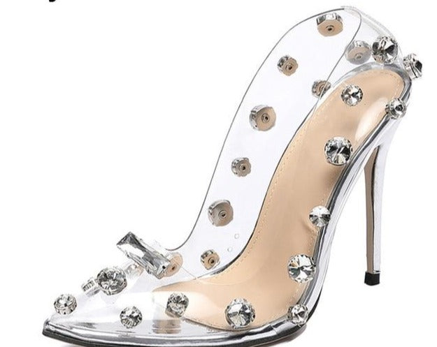Rivet Crystal Transparent Sexy high heels Shoes