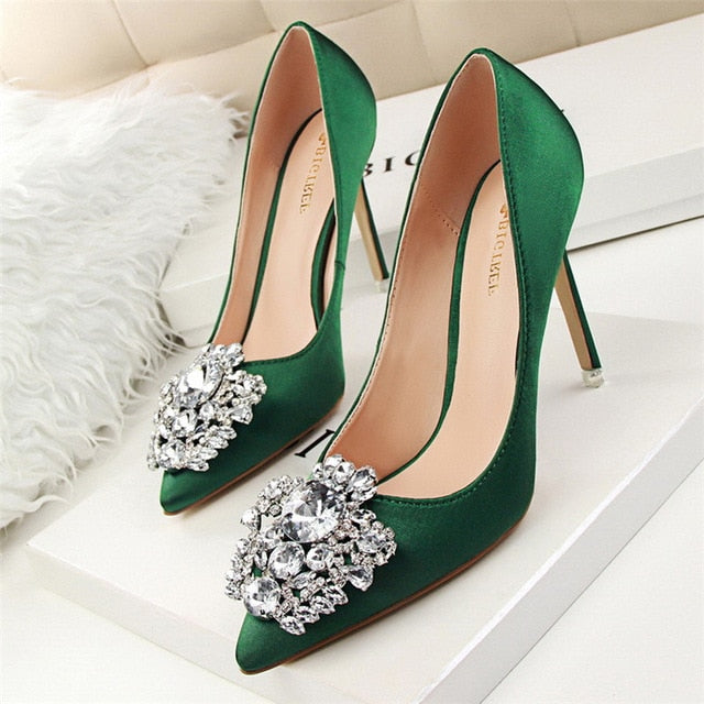 Women Faux Silk Satin Rhinestone Crystal Stiletto High Heel