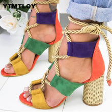 Load image into Gallery viewer, Women Lace Up Gladiator Thick Square Heel Knot rope Heels