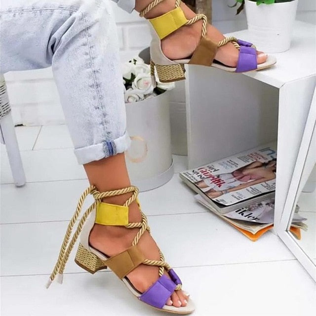 Women Lace Up Gladiator Thick Square Heel Knot rope Heels
