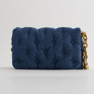 Women Thick Chain Oversized Retro Denim Quilted Shoulder Bag
