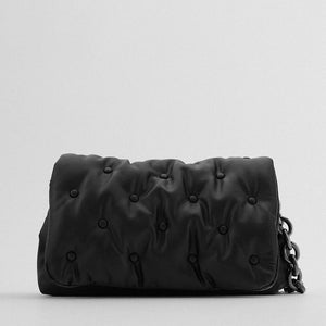 Thick Chain Black Leather Shoulder Bag