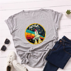 NASA ROCKET Print T-Shirt Women