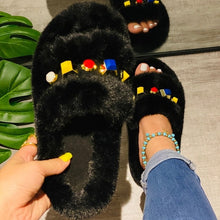 Load image into Gallery viewer, 2020 Women Fluffy rhinestone Fur Slides