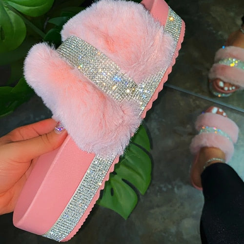 2020 Women Fluffy rhinestone Fur Slides