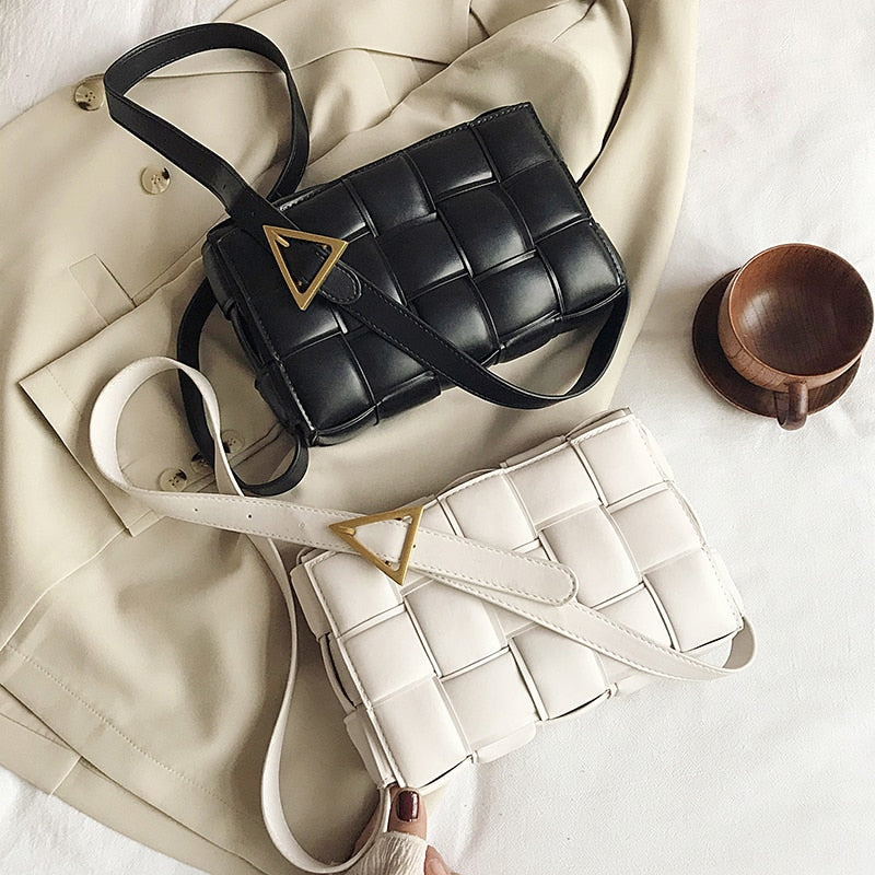 Solid Color Weave Fashion Cross Body Bag