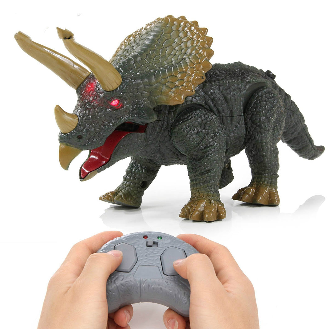 Electronic Dinosaur Toy Infrared Remote Control Triceratops Model Toy Walking with RC Funny Sounding Toys For Kids Gifts