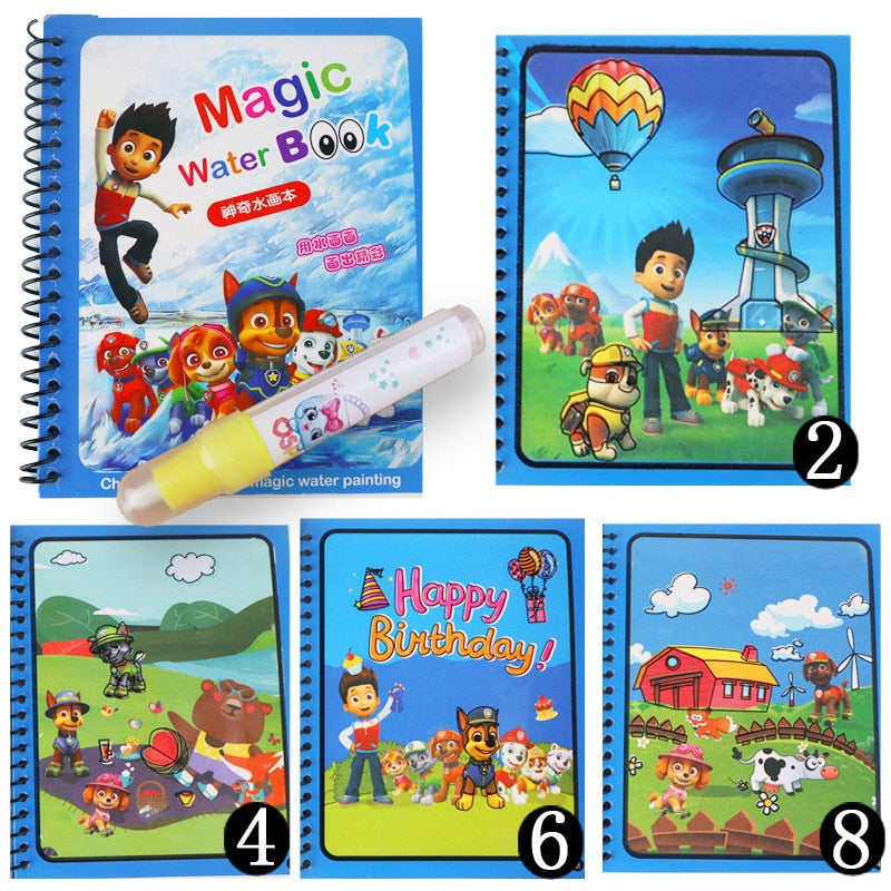 Paw Patrol Children's handmade creative magical magic water paintings graffiti colorful  painting coloring reusable gift toy