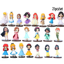 Load image into Gallery viewer, Disney 20pcs/set Princess Action Figures Toys Rapunzel Snow Cinderella White Snow Fairy Rapunzel Doll Decoration Children Gift