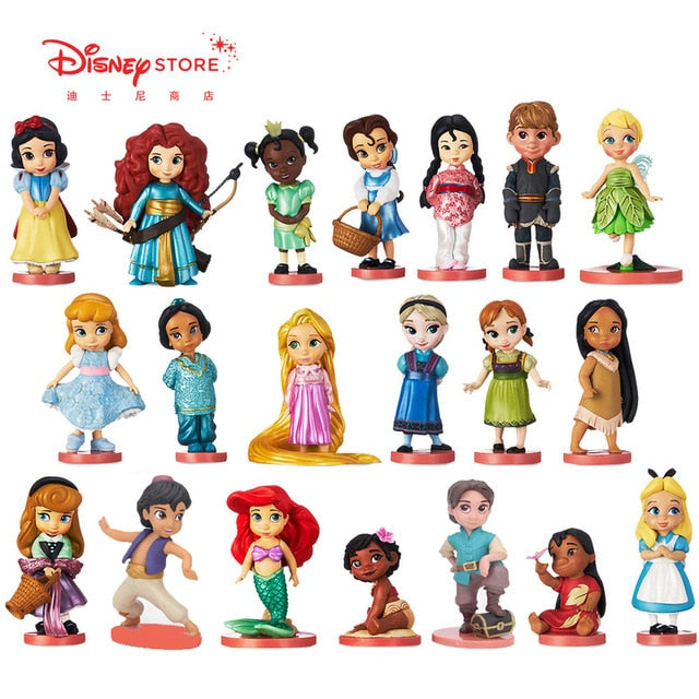 Disney 20pcs/set Princess Action Figures Toys Rapunzel Snow Cinderella White Snow Fairy Rapunzel Doll Decoration Children Gift