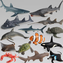 Load image into Gallery viewer, Ocean Sea Life Simulation Animal Model Sets Shark Whale Turtle Crab Dolphin Action Toys Figures Kids Educational Collection Gift