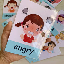 Load image into Gallery viewer, 14pcs Montessori Baby English Learning Cards Cartoon Emotion Flash Cards For Children Early Educational Toy Memory Game For Kids