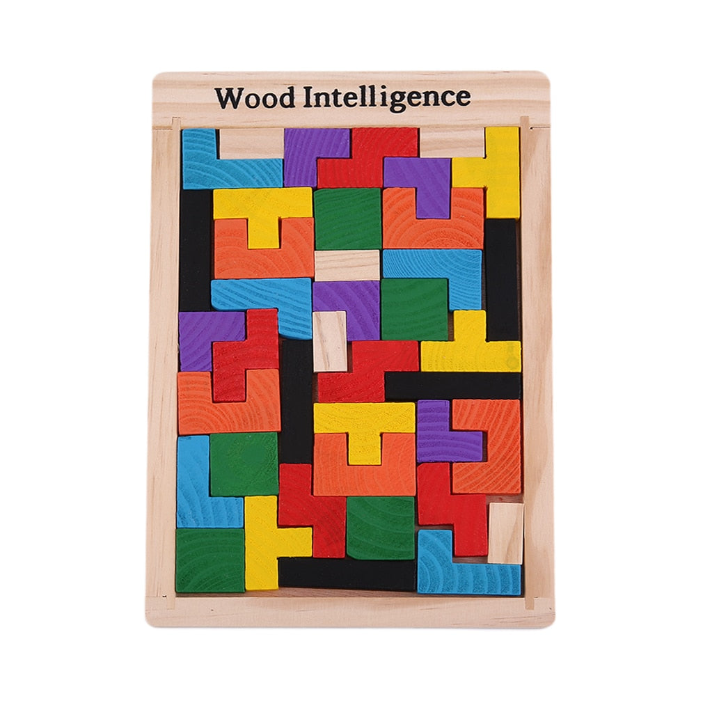 2019 HOT Colorful Wooden Tetris Puzzle Tangram Brain Teaser Puzzle Toys Educational Kid Toy Children Gift Brain Teaser