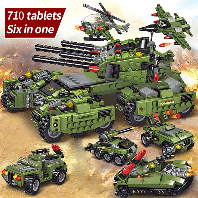 2020 710PCS Tank Building Blocks Vehicle Aircraft Boy Toys Figures Educational Blocks Military Compatible LegoINGlys Bricks