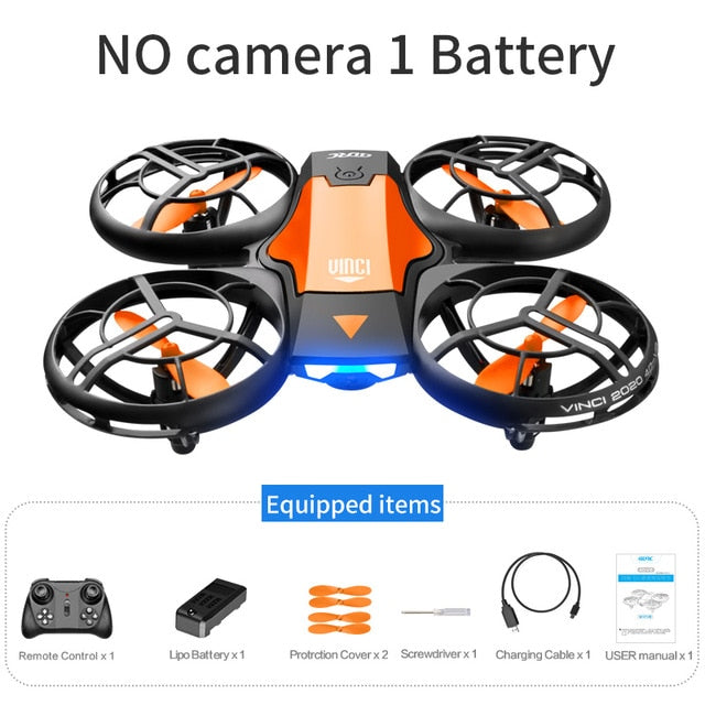 V8 Mini Drone 4K 1080P HD Camera WiFi Fpv Air Pressure Altitude Hold Black  Quadcopter RC Drone Toy