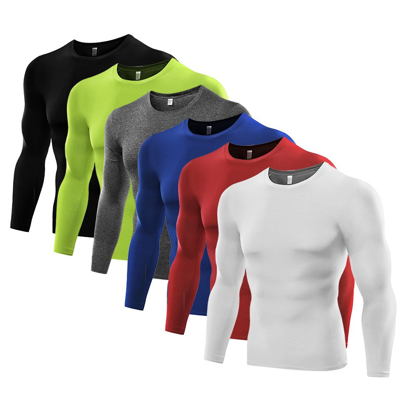 Men's Cool Dry Fit Long Sleeve Compression Shirts, Active Sports Base Layer T-Shirt, Athletic Workout Shirt