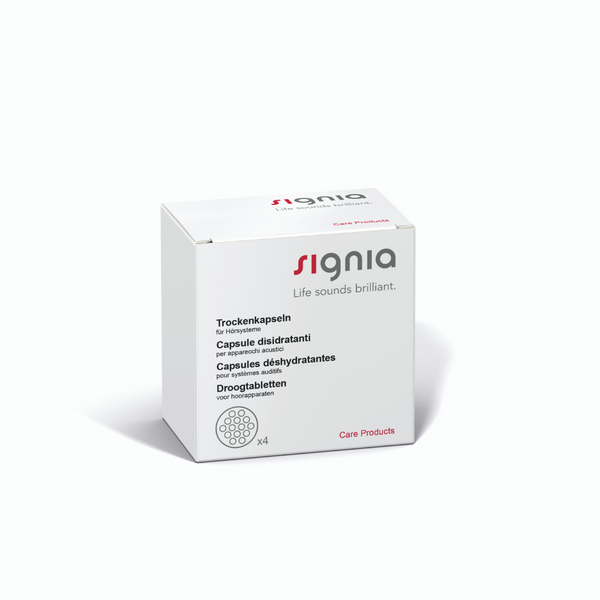 A box of four Signia drying capsules