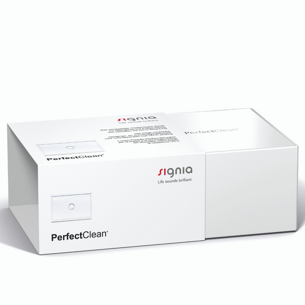 A box of Signia PerfectClean for your hearing aids.