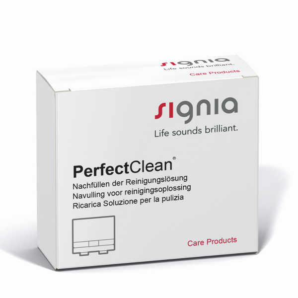 A box of Signia PerfectClean cleaning solution.