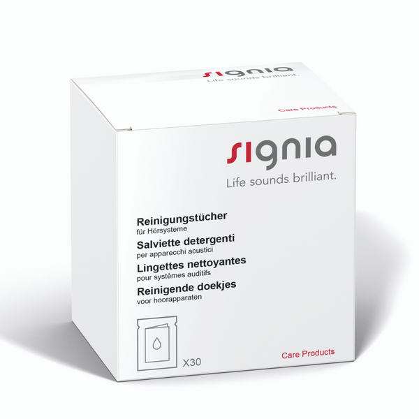 A box of 30 Signia cleaning wipes