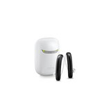 A pair of aesthetic black Signia Styletto 3X/7X hearing aids with white portable charging case