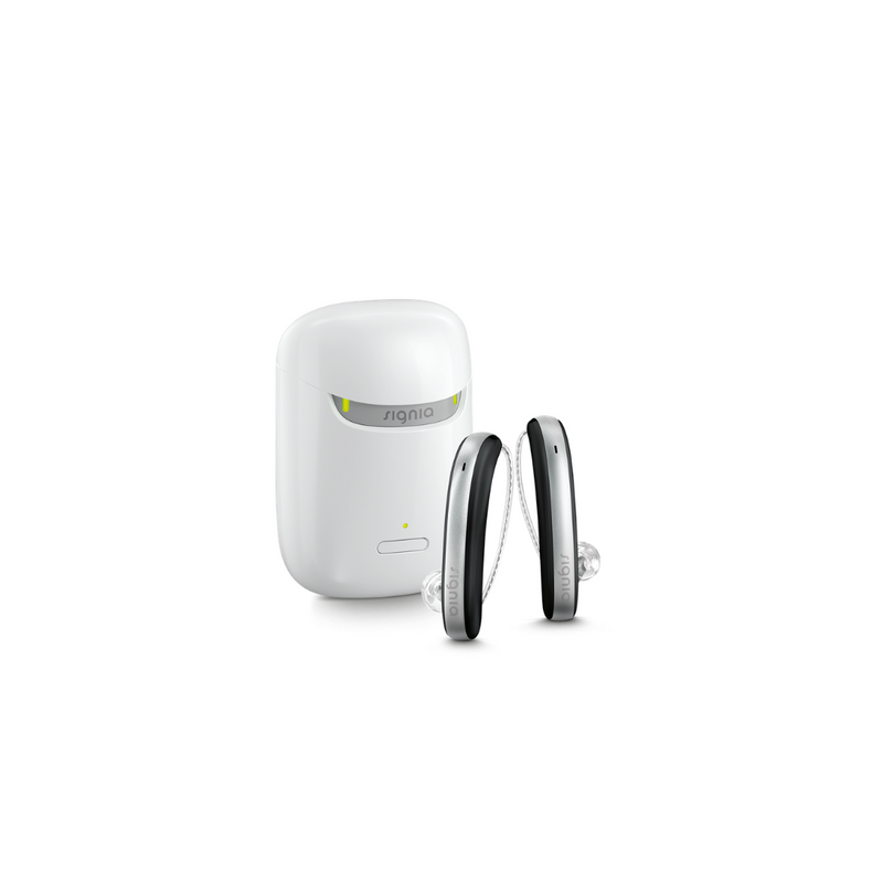 A pair of aesthetic black and silver Signia Styletto 3X/7X hearing aids with white portable charging case