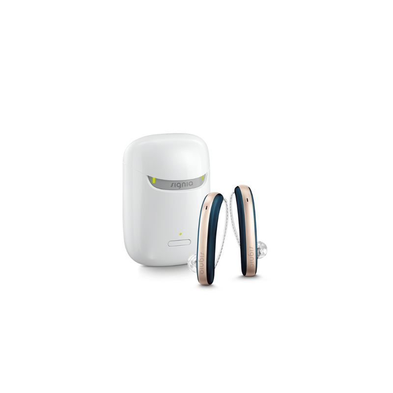 A pair of aesthetic blue and rose Signia Styletto 3X/7X hearing aids with white portable charging case