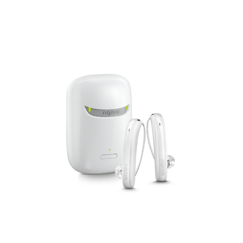 A pair of white aesthetic Signia Styletto 3X/7X hearing aids with white portable charging case